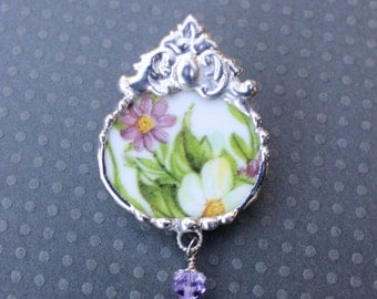 Broken China Jewelry, Brooch Pin, Purple and Green Floral Chintz