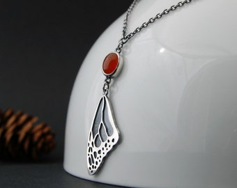 Monarch wing and carnelian necklace - sterling silver handmade monarch wing necklace