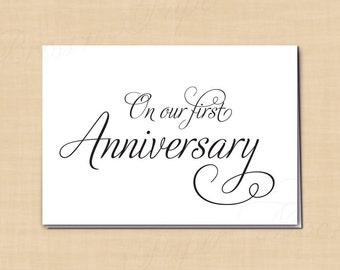 On Our First Anniversary Printable Card for Husband or Wife, Simply Elegant Card: 5 x 3.5 - Instant Download