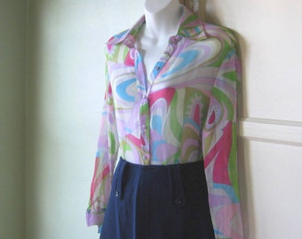 Vintage Psychedelic Print Gauze Blouse - Swirly Psychedelic Mod Gauze Top - 1970s Retro Psychedelic Print Shirt; Small