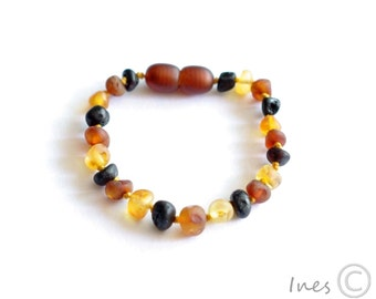 Raw Unpolished Multicolor Baltic Amber Baby Teething Bracelet/Anklet