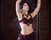 """The """"Chains of Desire"""" Beaded Crochet Bellydance Costume Set, Bra and Belt, Tribaret,  Ready to Ship"""