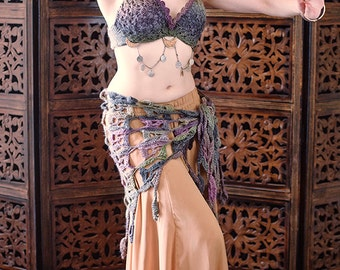 "The ""Moondreams"" Crochet Tribal Bellydance Costume Set, Ready to Ship"