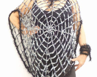 Spider Web Poncho Transformer One Size Women's Clothing Goth Hippie Grunge Clothes Crochet Mesh Poncho Halloween Costume