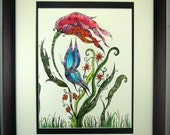 Colorful original drawing, double matted, frame included. Butterfly with flowers and vines