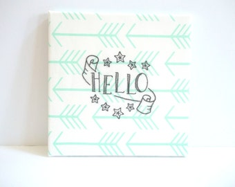 Mint Arrow Canvas Wall Art - Embroidered Wall Hanging - Nursery Room Decor - Sublime Stitching