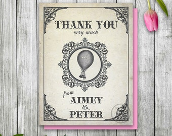 Hot Air Balloon Thank You Card, Steampunk Printable Thank You Note, Balloon Wedding Thank You Card, Wizard of Oz Party, Wizard of Oz Wedding