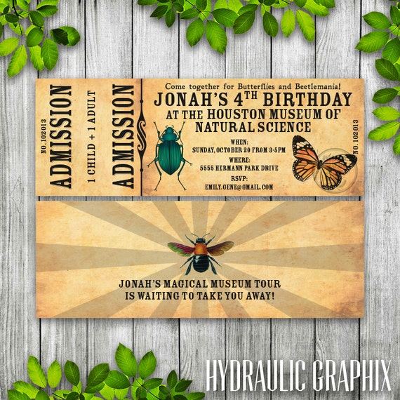 Science Museum Invitation Ticket Nature Insect Invitation – Insect Birthday Invitations