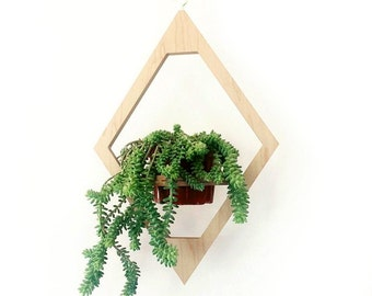 Modern Hanging Planter- Boho Chic Decor- Mid Century Plant Stand- Geometric Wooden Planter- Indoor Brass Planter- Bohemian Home Decoration