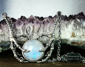 The Avian Embrace Necklace - Rainbow Moonstone Claw Necklace