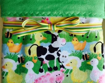 Flannel baby blanket- farm baby blanket- baby boy blankets-receiving blanket- new baby gifts- gender neutral baby- crib blanket- baby girl