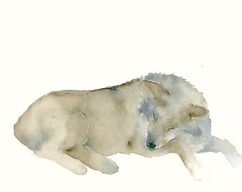Animal Art Original Watercolor Painting Sleeping Wolf