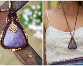 Macrame Necklace, Purple Jasper Pendent and  Brown Macrame, Tribal Jewelry