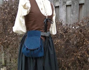 Renaissance Belt Bag, Womens Medieval Purse - Deep Blue Faux Suede Fabric
