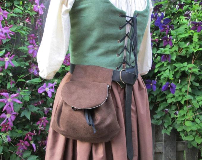 Renaissance Belt Bag, Womens Medieval Purse - Dark Brown Faux Suede Fabric