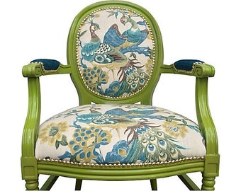 Upholstered French Louis XVI Designer Royal Peacock Blue Aqua Green Teal Bird Fabric Arm Chair Gold Nail Head Modern Eclectic Colorful