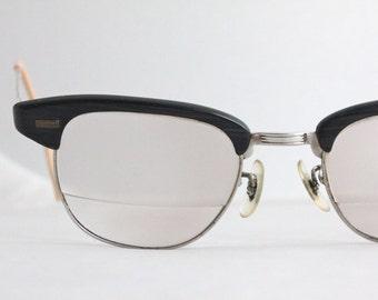 Vintage 50's Unisex Shuron 12K Gold Filled Wood Horn Cat Eye Eyeglasses