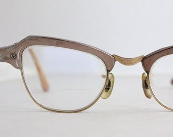 Vintage 50's Damaged 12K Engraved Aluminum Cat Eye Eyeglasses