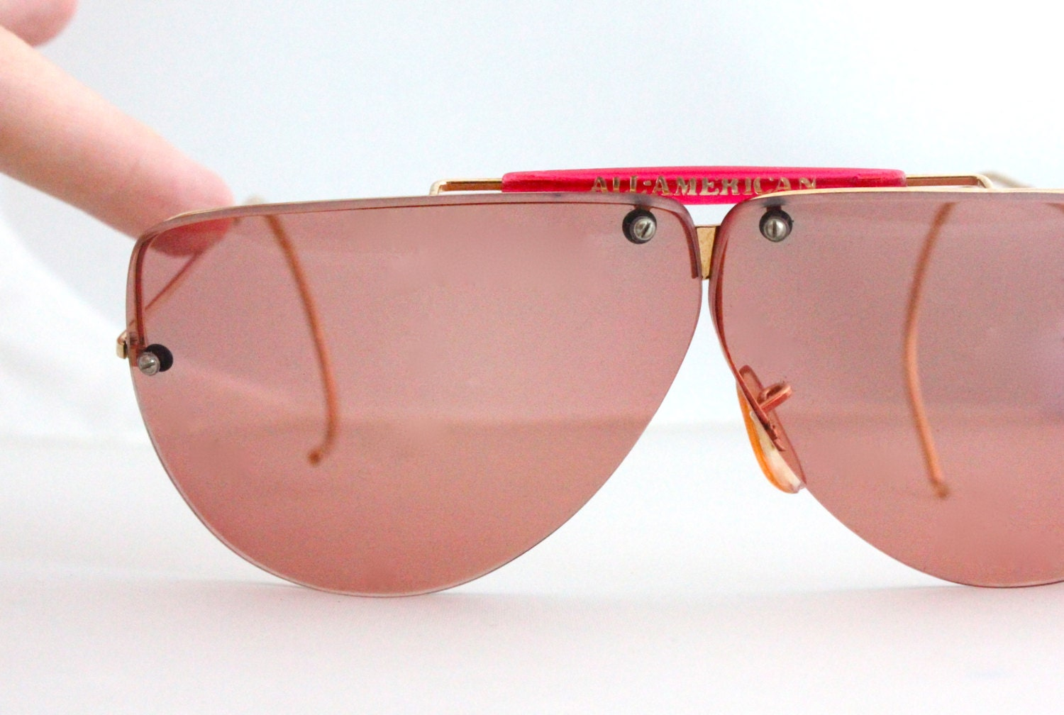 Rimless Aviator Eyeglass Frames : Vintage 80s Oversized Rimless Aviator Sunglasses