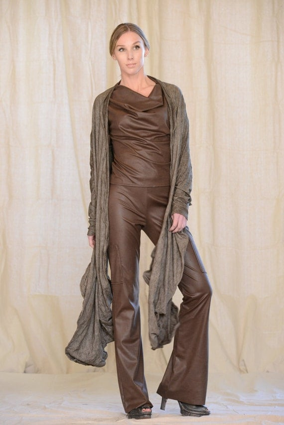 Women's Jacket Long Drape, Sculptural Wired Jersey Wrap, Design Yourself Versatile Looks