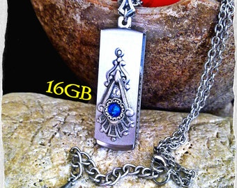 16GB USB Pendant Victorian Gothic Swarovski Pendant Necklace Flash Drive Memory Stick Pendant Victorian Gothic Jewelry