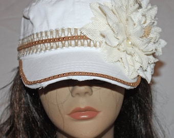 White Vintage Style Military Cadet Cap with Burlap Flower and Leather Studded Trim
