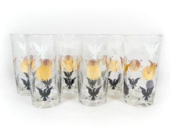 Mid Century Eagle Glassware Set Federal America Eagle Gold Drinking High Ball Glasses Tumblers Vintage Barware Retro Barcart SET of 6
