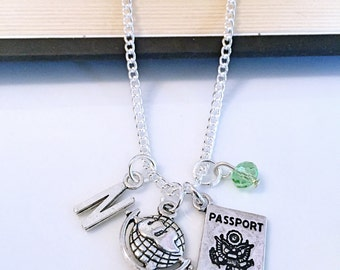 Personalized Wanderlust Travel Necklace with Your Initial and Birthstone