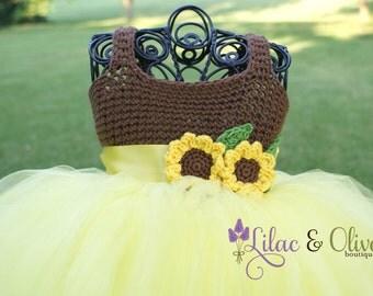 Toddler sunflower tutu dress yellow & brown baby girl tutu dress child's tutu dress pageant tutu dress birthday tutu Free US shipping