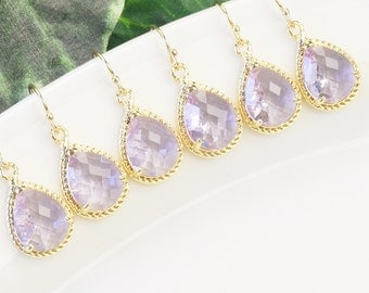 Lavender Earrings SET OF 6 Bridesmaid Jewelry - 15% Off Gold Light Purple Bridesmaid Earrings - Wedding Jewelry - Crystal Teardrop Earrings