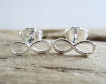 Infinity Symbol Sterling Silver Stud Earrings