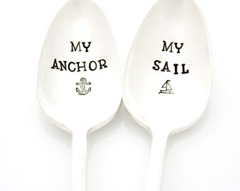 My Anchor, My Sail. Hand Stamped Spoon Set for Nautical Couples Gift Idea. Vintage hand stamped silverware by Milk & Honey.