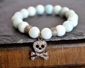 PAVE DIAMONDS SKULL  bracelet.stacking bracelet/edge diamond bracelet/skull diamond bracelet/amozonite bracelet
