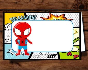 DIY Superhero inspired food tent, Superhero party, Superhero birthday, Superhero foo labels