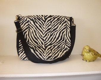 Black and White Zebra print Messenger Bag