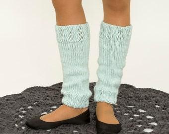 Mint Hand-Knitted Legwarmers, Knit Ankle Warmers, Crocheted Handmade Accessory, Soft, Handmade, Blue, Dancer, Ballet, Teens / Womens, Dance