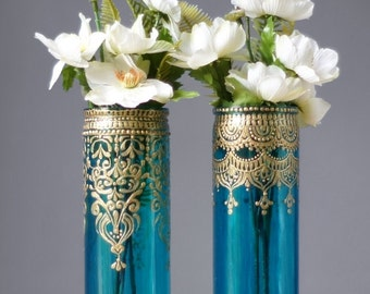 Bohemian Bud Vases, Tall Cylinder Glass, Aquamarine Glass with Gold Designs