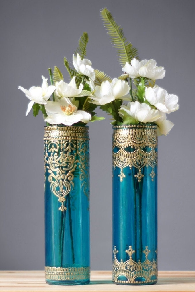bohemian bud vases tall cylinder glass aquamarine glass with. Black Bedroom Furniture Sets. Home Design Ideas
