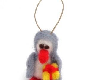 Felt Penguin ornament, Penguin christmas ornament, needle felted tree decoration