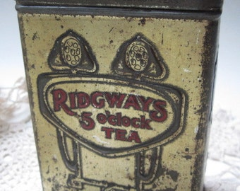 Antique Ridgways 5 O'Clock Tea Tin Made in England