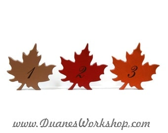 """Autumn Leaves 6"""" Rustic Wedding Table Numbers, Wooden, Wedding reception, Painted, fall leaves"""