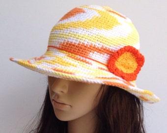 Crochet Summer Hat .... Cotton Crochet Sun Hat .. Wide Brim Hat... Beach Hat