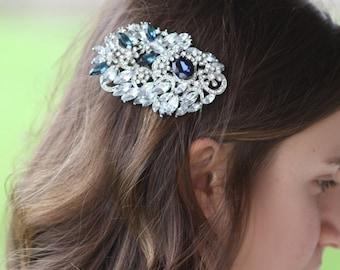 Swarovski bridal hair comb, Brooch , Barrette , Wedding Hair Comb, Bridal Comb,  Crystal Brooch, Something Blue, Wedding Jewelry,(Mariana)