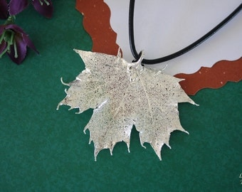 SALE Leaf Necklace, Silver Maple Leaf, Sugar Maple Leaf, Real Leaf Necklace, Maple Leaf Pendant, SALE215