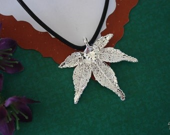 SALE  Real Japanese Maple Leaf, Leaf Necklace, Silver Maple Leaf, Silver Leaf, Real Leaf Necklace, Silver Maple Leaf Pendant, SALE233