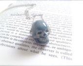 Zombie Skull Necklace. Ceramic Halloween Necklace. Silver. Spooky. Corpse Zombie Jewelry. Creepy. Blue Skull. Under 25. Oddities Unique
