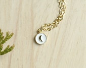 Petite Moon Pendant - Gold and White Layering Necklace - Delicate Pendant Necklace