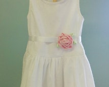 Drop Waist Little Girl's Dress of Dotted Swiss Batiste Fabric with Satin Rose Sash