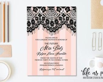 lace bachelorette party invitation