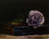 Oil Painting Mauve Rose Original Art by Nina R.Aide Fine Art Small Painting Floral Wall Decor Chiaroscuro Free Domestic Shipping